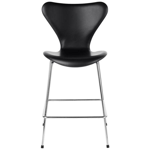 Billede af Fritz Hansen Serie 7 Stol. Lav barstol. Fuldpolstret. - Soft læder