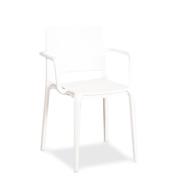 Image of   Allermuir. Hvid stol i plast. Stabelbar. Med armlæn. DEMO.