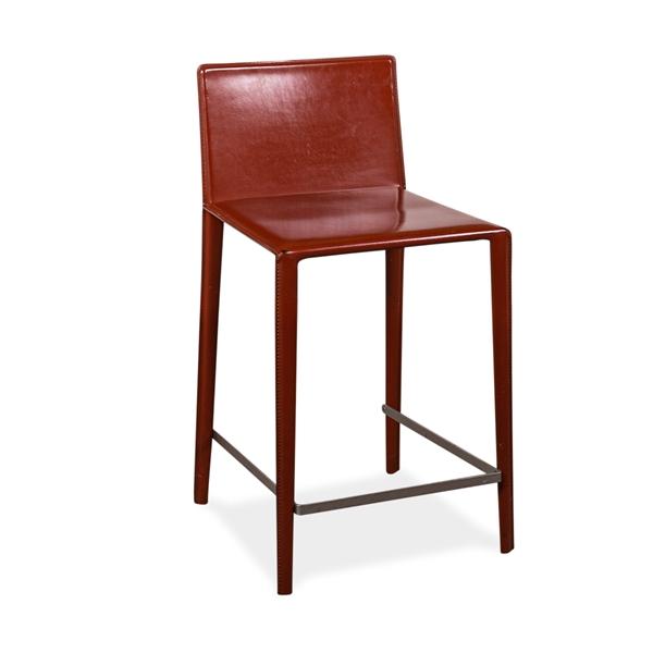 Image of   Arper. NORMA. Barstol. Rødligt læder 62 cm høj.