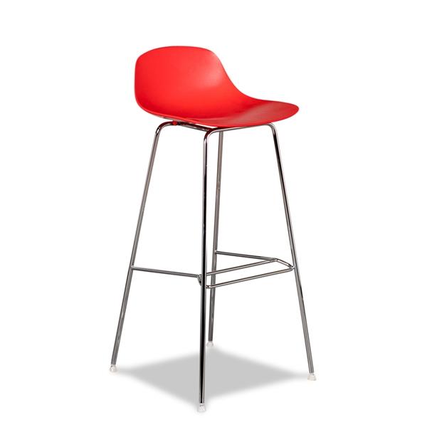 Image of   Barstol. Infiniti. Pure Loop Mini. Rød plast skal. Forkromet stel. Siddehøjde. 78 cm. Demo.
