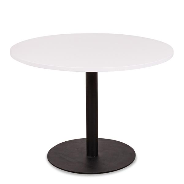 Image of   Cafébord. Sort søjle. Rund bordplade i lys grå laminat. Ø 100 cm