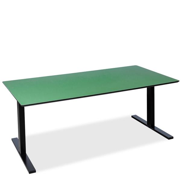 Image of   El hæve sænke bord. Mørk grøn linoleum. Sort Linak Square stel.