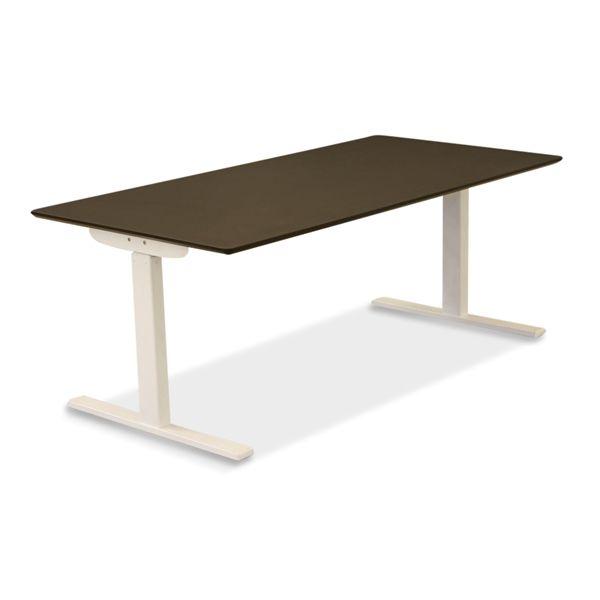 Image of   El hæve sænke bord. Sort linoleum, hvid Square stel 160x80 - NYT