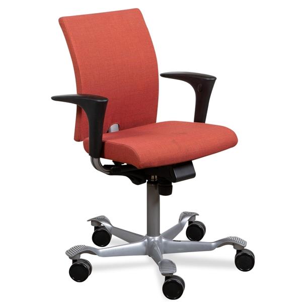 Image of   Håg 04 kontorstol. Rust rød polster. Grå stel. Armlæn.