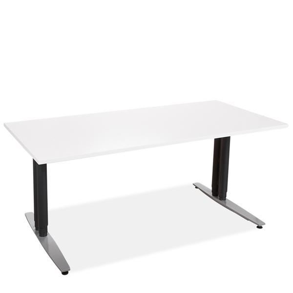 Image of   Hæve sænke bord. Brugt stel. mørke blå søjler. Grå fødder. Ny bordplade. Hvid laminat 160 x 80