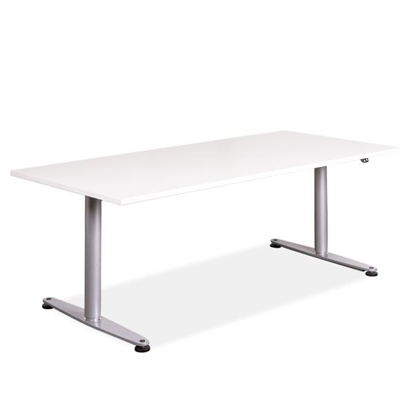 Image of   Hæve sænke bord. Hvid laminat. Gråt stel. 180 x 80. Brugt