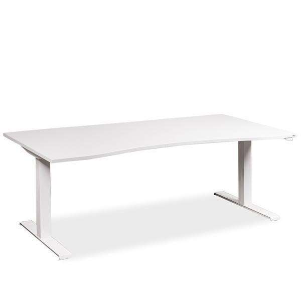 Image of   Hæve sænke bord. Hvidt stel. Hvid plade. 180 x 90. Brugt