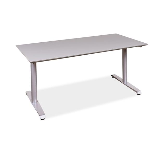 Image of   Hæve sænke bord. Ny linoleums bordplade. Grå, faset kant. Brugt stel. Grå 160 x 80