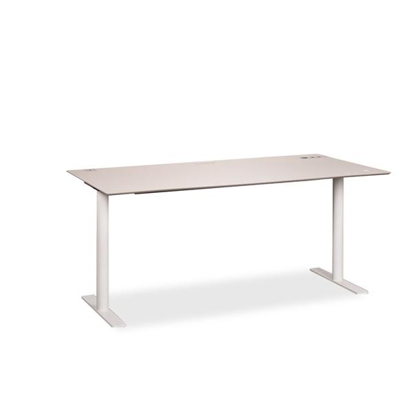 Image of   Hæve sænke bord. S60. Lys grå linoleum med grå tacs. Hvid stel. 160 x 80 cm. Demo.