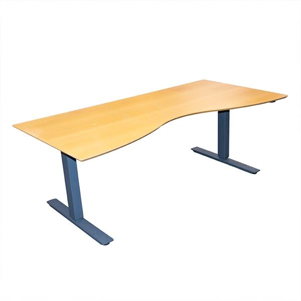 Image of   Hæve sænkebord - Bøg, centerbue, gråt stel, 180x90