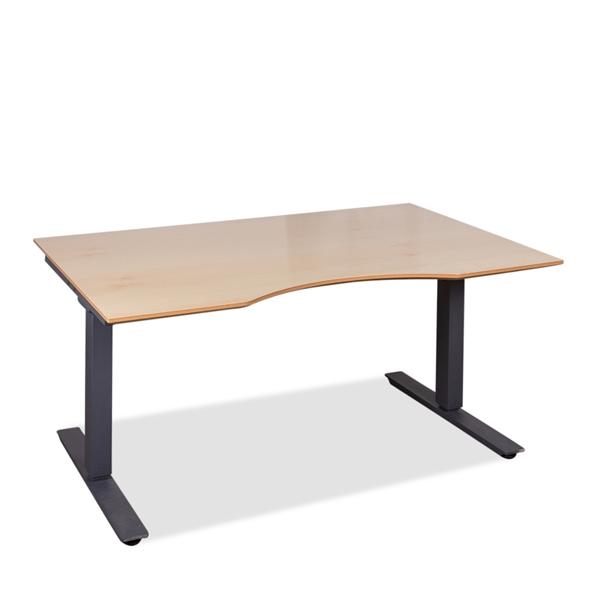 Image of   Hæve sænkebord. Brugt gråt stel. Ny bordplade ahorn med centerbue. 140 x 90.
