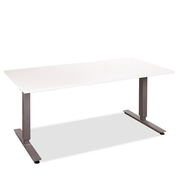 Image of   Hæve sænkebord. Brugt gråt stel. Ny hvid laminat bordplade. 140 x 80.