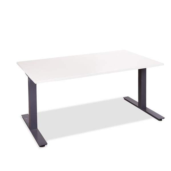 Image of   Hæve Sænkebord. Brugt stel i grå. Ny bordplade i hvid laminat. 140 x 80.