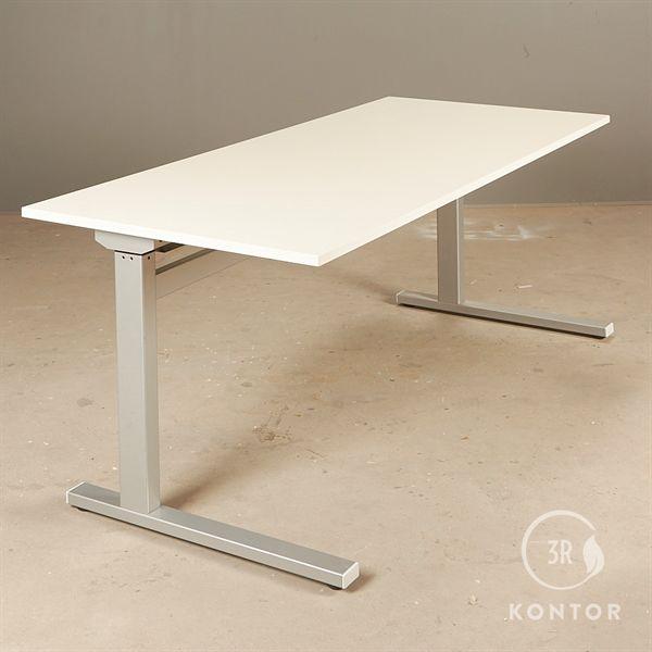 Image of   Hæve sænkebord. Ny hvid plade, gråt stel. 180x80