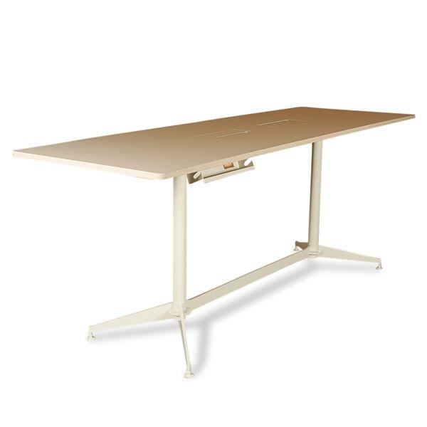 Image of   Højt konferencebord. beige linoleum på hvidt stel. 280x90