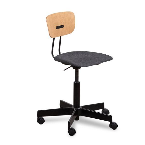 Image of   HOLMRIS B8 RAY kontorstol med egetræsryg med gråt polster sort fod