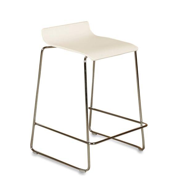 Image of   Inclass ginger barstol. Hvidt sæde, krom stel.