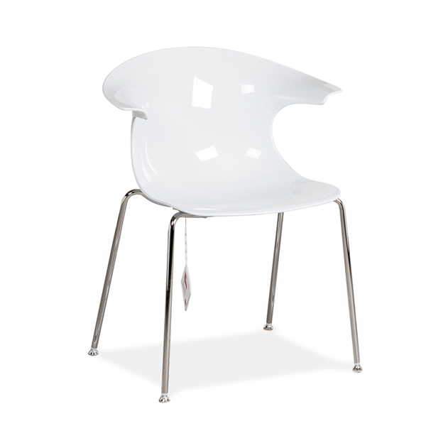 Image of   Infiniti LOOP dinning chair. Hvid plast. Krom stel. DEMO.