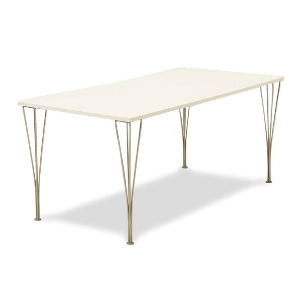 Image of   Kantinebord. hvid laminat, Fritz Hansen trådben, 160x80