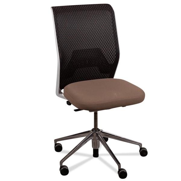 Image of   Vitra kontorstol. Sort mesh ryg. Lys brun sæde. poleret alu fodkryds.