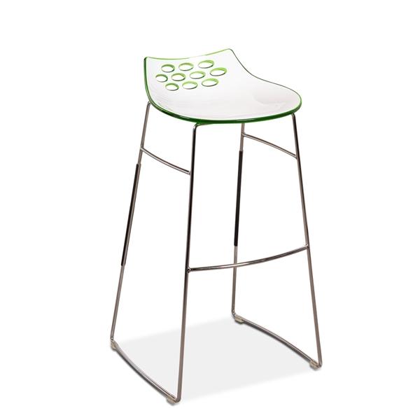 Image of   Barstol. Forkromet stel med fodhvile. Skal i hvid og grøn plast.