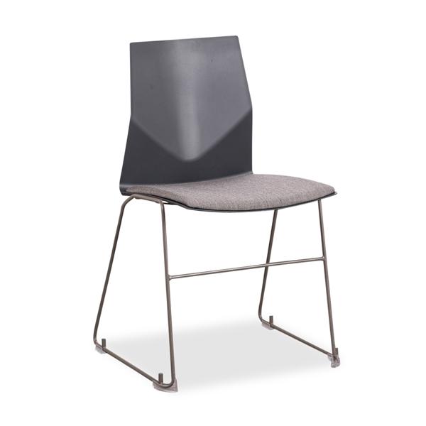 Image of   Fourdesign. Kantinestol. Mørkegrå skal. Gråt polster. Gråt medestel. DEMO.