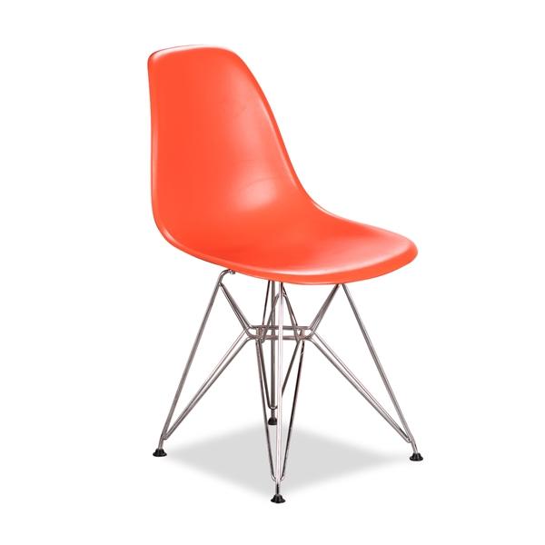 Image of   Vitra. Eames DSR. Forkromet Eiffelstel. Orange plast.